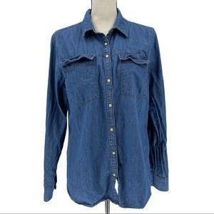 Girl Krazy Cotton Denim Button Down Shirt Size XL